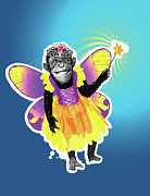 Chimpanzee Digital Art Prints - Chimpanzee In Fairy Costume Print by New Vision Technologies Inc