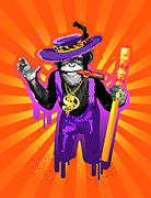 Chimpanzee Digital Art Prints - Chimpanzee In Pimp Costume, Smoking Cigar Print by New Vision Technologies Inc