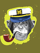 Head Shot Digital Art Prints - Chimpanzee Wearing Captains Hat, Smoking Pipe Print by New Vision Technologies Inc