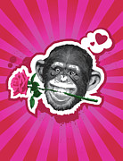 Head Shot Digital Art Prints - Chimpanzee With Rose In Mouth Print by New Vision Technologies Inc