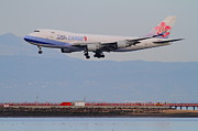 San Francisco Airport Posters - China Airlines Cargo Jet Airplane At San Francisco International Airport SFO . 7D12299 Poster by Wingsdomain Art and Photography