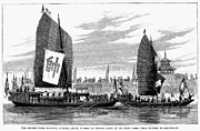 Chang Framed Prints - China: Barge Travel, 1894 Framed Print by Granger
