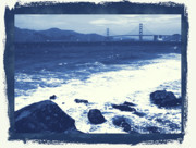China Beach Metal Prints - China Beach and Golden Gate Bridge with Blue Tones Metal Print by Carol Groenen