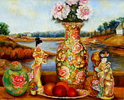 Quebec Paintings - China Dolls And Vase Still Life by Carole Spandau
