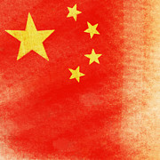 Torn Digital Art Prints - China flag Print by Setsiri Silapasuwanchai