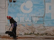 Dirt Road Paintings - China Life by Caren Bestbier