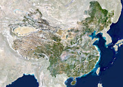 East China Prints - China, Satellite Image Print by Planetobserver