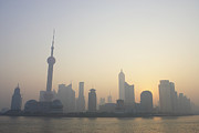 The Bund Prints - China, Shanghai, Huangpo River, Pudong Business District And The Oriental Pearl Tower Print by Chucancan
