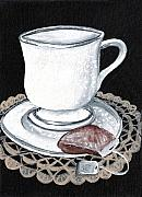 Doily Framed Prints - China Tea Cup Framed Print by Elaine Hodges