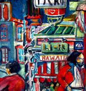 City Streets Mixed Media Prints - China Town Print by Mindy Newman