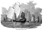 Pirate Ship Prints - China: War Junks, 1857 Print by Granger