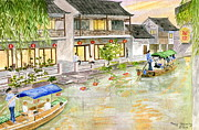 Old Shanghai China Prints - Chinas Venice Zhouzhuang Print by Melly Terpening