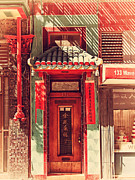 Red Doors Prints - Chinatown Door . 7D7406 Print by Wingsdomain Art and Photography