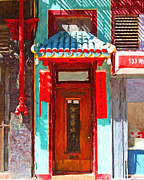 Red Doors Prints - Chinatown Door Print by Wingsdomain Art and Photography