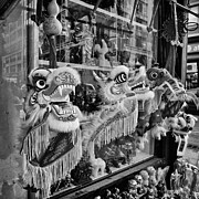 Black And White Prints Prints - Chinatown Dragons NYC Print by John Farnan