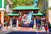Chinese Characters Framed Prints - Chinatown Gate In San Francisco . 7D7139 Framed Print by Wingsdomain Art and Photography