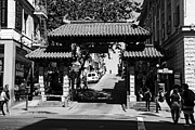 Chinese Characters Framed Prints - Chinatown Gate In San Francisco . bw . 7D7139 Framed Print by Wingsdomain Art and Photography