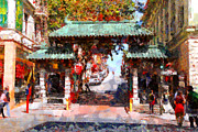 Chinese Characters Framed Prints - Chinatown Gate In San Francisco . Painterly . 7D7139 Framed Print by Wingsdomain Art and Photography
