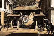 Chinese Characters Framed Prints - Chinatown Gate In San Francisco . sepia . 7D7139 Framed Print by Wingsdomain Art and Photography