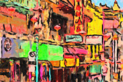 Impressionism Digital Art Prints - Chinatown in Abstract Print by Wingsdomain Art and Photography