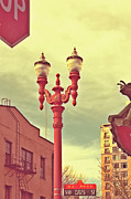 Street Photography Digital Art - Chinatown Lamp by Cathie Tyler