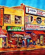 Crowds Painting Originals - Chinatown Markets by Carole Spandau