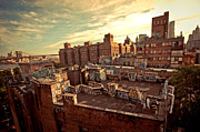 Brooklyn Bridge Prints - Chinatown Rooftop Graffiti and the Brooklyn Bridge - New York City Print by Vivienne Gucwa