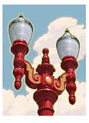 1930s Decor Posters - Chinatown Street Light Poster by Mitch Frey