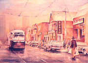 Chinatown Streetcar Toronto Print by Merv Scoble