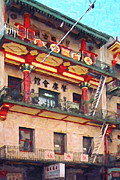 Historical Landmark Digital Art Metal Prints - Chinatown Metal Print by Wingsdomain Art and Photography