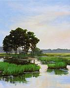 Marsh Scene Paintings - Chincoteague Marsh by Sarah Grangier