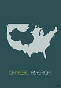 Usa Map Digital Art - Chinese America Poster by Irina  March