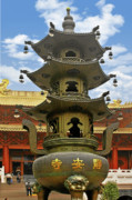 Shrine Prints - Chinese Ancient Relics - Bronze Cauldron Jingan Temple Shanghai Print by Christine Till