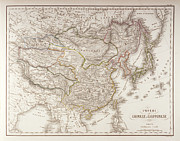 Old Map Digital Art Framed Prints - Chinese And Japanese Empires Framed Print by Fototeca Storica Nazionale