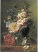 Aster  Framed Prints - Chinese Aster and Balsam in a Glass Vase Framed Print by Cornelis Van Spaendonck