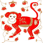 Astrology Drawings Posters - Chinese Astrology Monkey Poster by Barbara Giordano