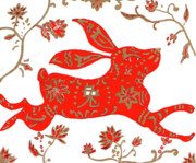 Astrology Drawings Prints - Chinese Astrology Rabbit Print by Barbara Giordano