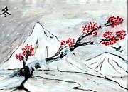 Chinese Brush Paint Winter Print by Shashi Kumar