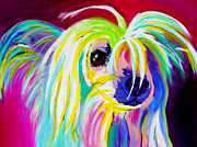Dog Art Painting Metal Prints - Chinese Crested - Fancy Pants Metal Print by Alicia VanNoy Call