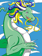 Water Dragon Prints - Chinese Dragon European Style version1 Print by Sabrina Bianchi