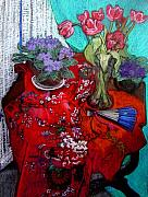 Interior Still Life Drawings Originals - Chinese Fan by Patricia Clements