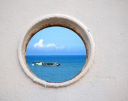 Porthole Posters - Chinese Fishing Boat Seen Through a Porthole Poster by Yali Shi