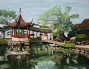 China Pastels Framed Prints - Chinese Garden Framed Print by Marion Derrett