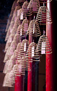 Hanging Pot Framed Prints - Chinese Incense Coils Framed Print by Zoe Ferrie