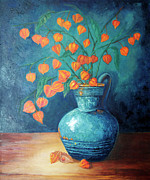 Life Greeting Cards Painting Originals - Chinese Lanterns by Enzie Shahmiri