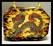 Mixed Media Pyrography Pyrography - Chinese lung box purse by Amanda Martin