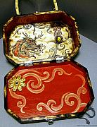 Mixed Media Pyrography Pyrography - Chinese lung box purse interior by Amanda Martin