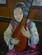 Lute Prints - Chinese lute player Print by Barbi Vandewalle