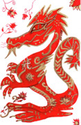 Red Leaf Drawings - Chinese New Year Astrology Dragon by Barbara Giordano