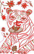 Astrology Drawings Posters - Chinese New Year Astrology Tiger Poster by Barbara Giordano